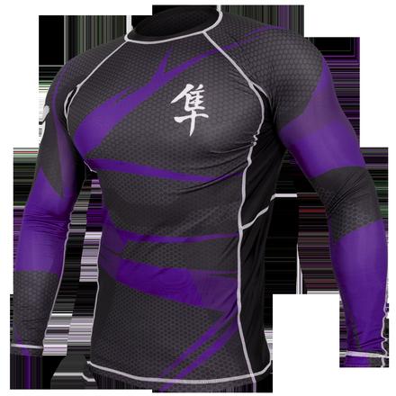 Hayabusa Metaru 47 Silver Rashguard Longsleeve- Black and Purple
