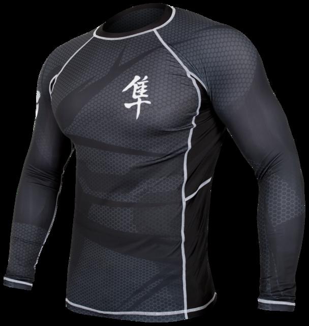 Hayabusa Metaru 47 Silver rashguard longsleeve- black