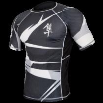 Hayabusa Metaru 47 Silver Rashguard Short Sleeve- Black and White