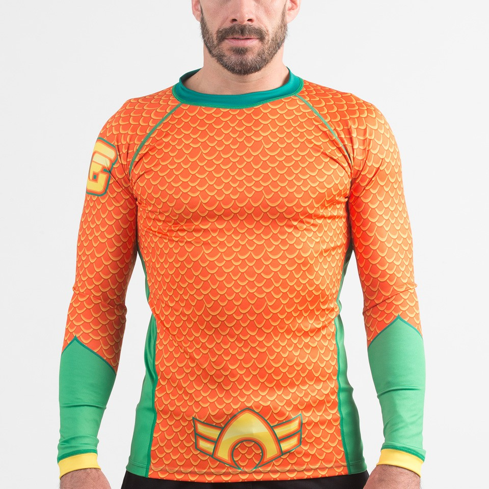 Fusion Fight Gear Aquaman Costume Adult Compression Rash Guard