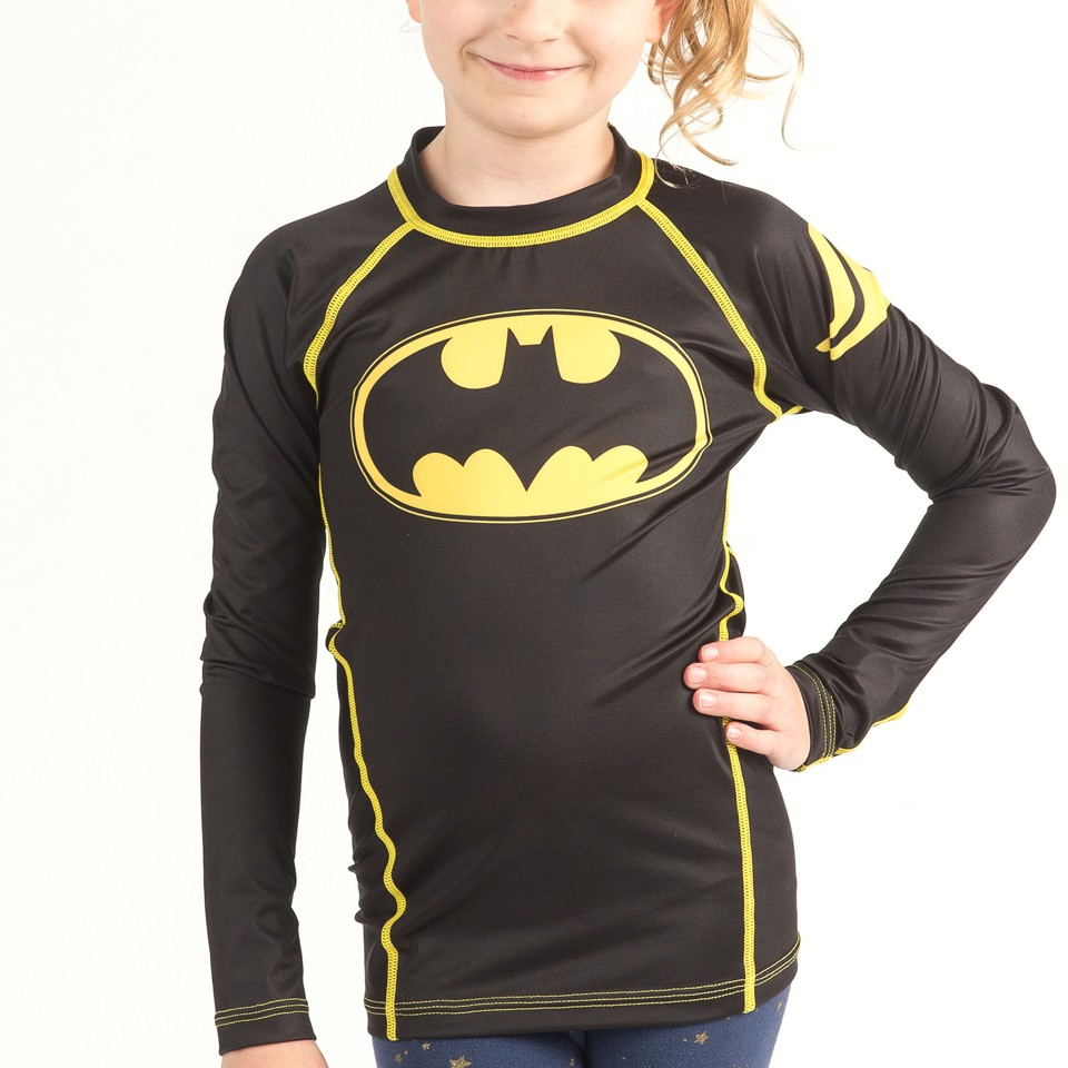 Batman 1989 Black Logo Kids Rashguard- Long Sleeve