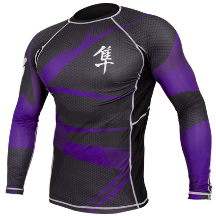 Hayabusa Metaru 47 Silver Rashguard Longsleeve- Black and Purple