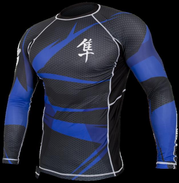 Hayabusa Metaru 47 Silver Rashguard Longsleeve- Black and Blue