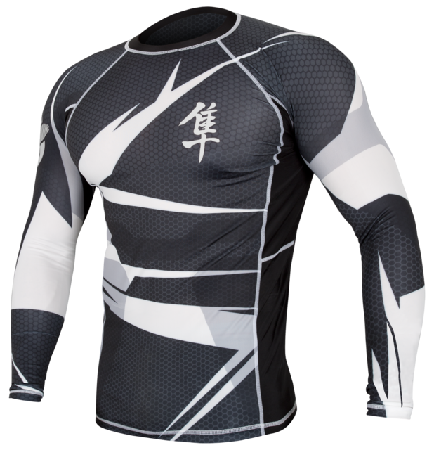 Hayabusa Metaru 47 Silver Rashguard Longsleeve- Black And White