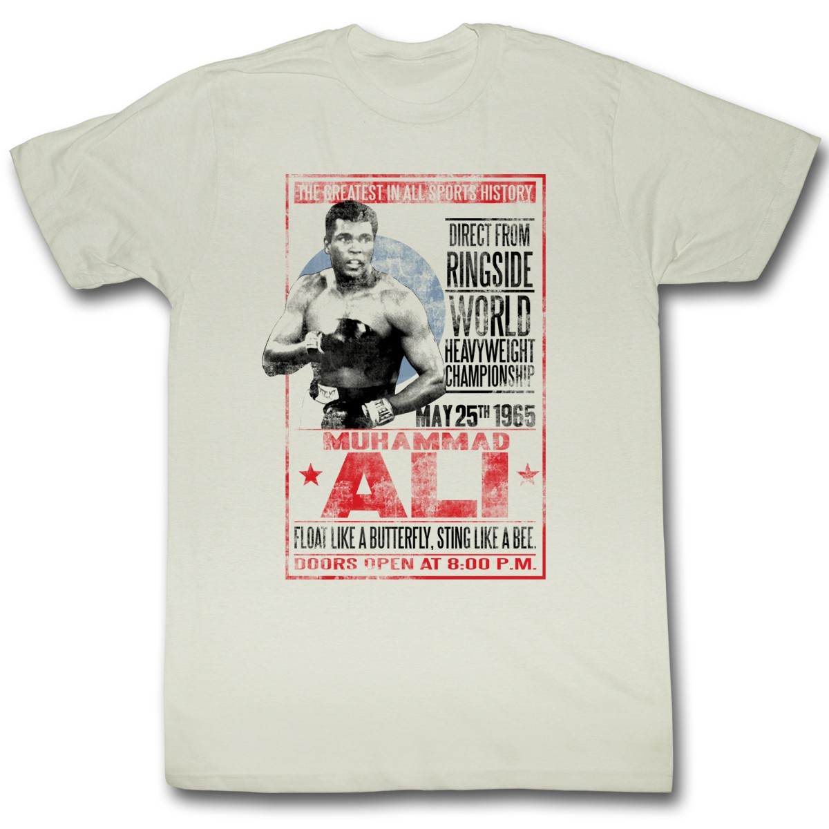 muhammad ali 1965 poster t shirt free shipping usa and canada. Black Bedroom Furniture Sets. Home Design Ideas