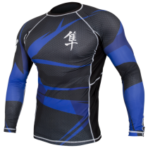 Hayabusa Metaru 47 Silver Rashguard Longsleeve- Black and Blue