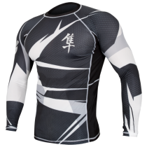 Hayabusa Metaru 47 Silver Rashguard Longsleeve- Black And White
