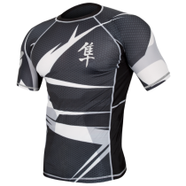 Hayabusa Metaru 47 Silver Rashguard Short Sleeve- Black and White