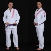Vulkan Women's Pro Light Jiu-Jitsu Gi- White With Pink Patches