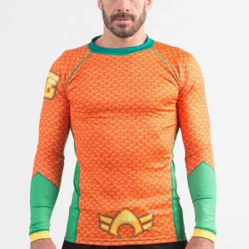 Fusion Fight Gear Aquaman Costume Adult Compression Rash Guard