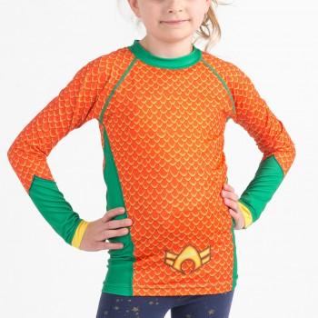 Aquaman Costume Kids Rashguard- Long Sleeve