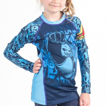 Kung Fu Panda Dragon Warrior Kids Rashguard - Blue Long Sleeve
